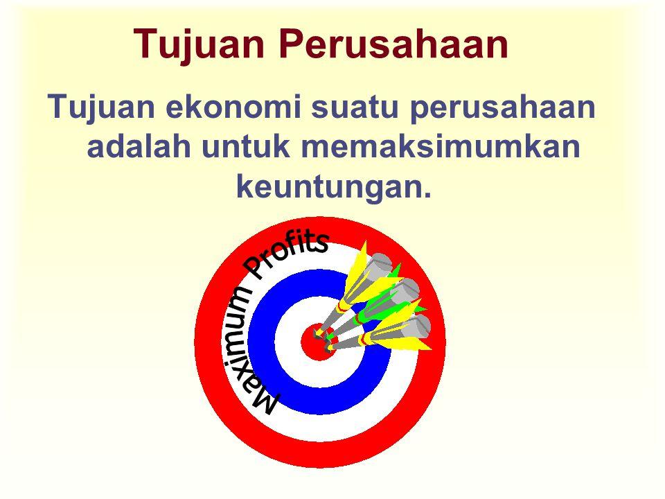 Tujuan Perusahaan Tujuan ekonomi suatu perusahaan adalah untuk memaksimumkan keuntungan.