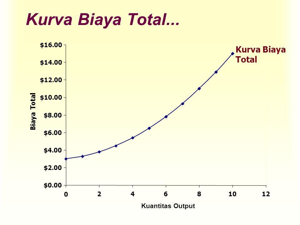 Kurva Biaya Total... $0.00 $2.00 $4.00 $6.00 $8.00 $10.00 $12.00 $14.00 $16.00 0 24681012 Kuantitas Output Biaya Total Kurva Biaya Total