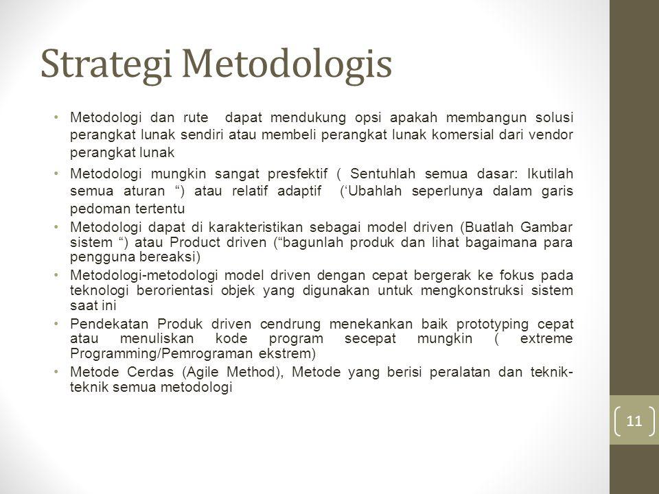 Strategi Metodologis Metodologi dan rute dapat mendukung opsi apakah membangun solusi perangkat lunak sendiri atau membeli perangkat lunak komersial dari vendor perangkat lunak Metodologi mungkin sangat presfektif ( Sentuhlah semua dasar: Ikutilah semua aturan ) atau relatif adaptif ('Ubahlah seperlunya dalam garis pedoman tertentu Metodologi dapat di karakteristikan sebagai model driven (Buatlah Gambar sistem ) atau Product driven ( bagunlah produk dan lihat bagaimana para pengguna bereaksi) Metodologi-metodologi model driven dengan cepat bergerak ke fokus pada teknologi berorientasi objek yang digunakan untuk mengkonstruksi sistem saat ini Pendekatan Produk driven cendrung menekankan baik prototyping cepat atau menuliskan kode program secepat mungkin ( extreme Programming/Pemrograman ekstrem) Metode Cerdas (Agile Method), Metode yang berisi peralatan dan teknik- teknik semua metodologi 11