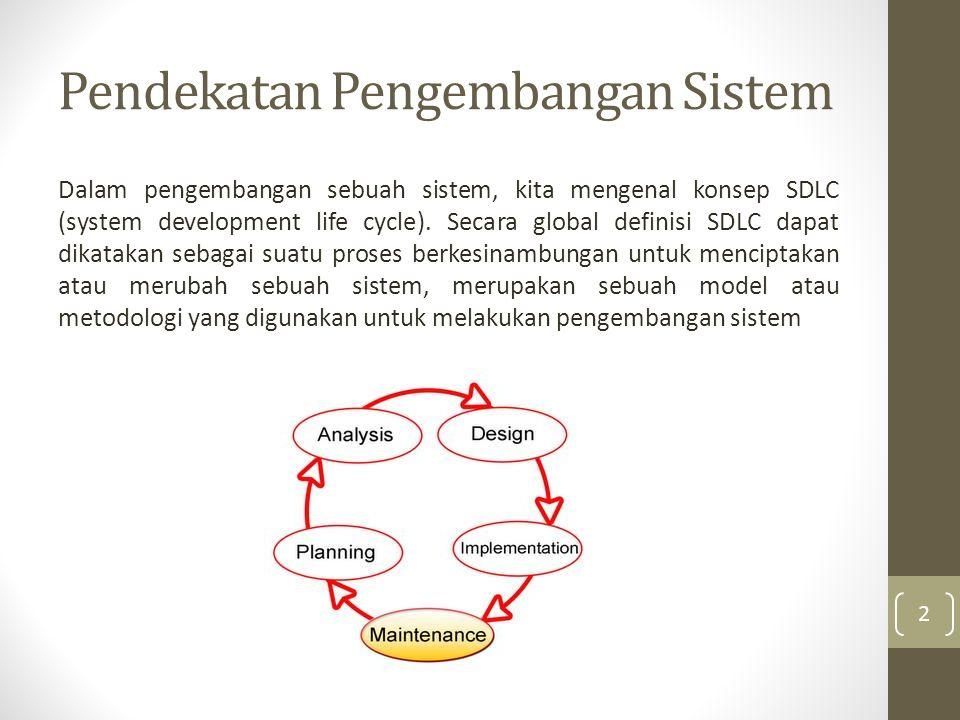 Pendekatan Pengembangan Sistem Dalam pengembangan sebuah sistem, kita mengenal konsep SDLC (system development life cycle).