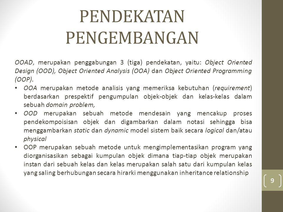 PENDEKATAN PENGEMBANGAN Hubungan antara OOA, OOD dan OOP adalah: hasil pemodelan atau pengumpulan objek dari OOA akan digunakan oleh OOD dan hasil dari OOD akan digunakan sebagai blueprint untuk membangun sistem dengan menggunakan OOP.