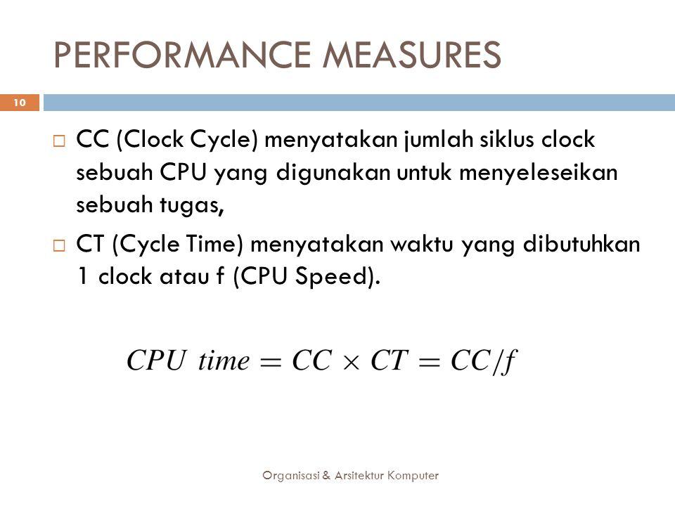PERFORMANCE MEASURES Organisasi & Arsitektur Komputer 10  CC (Clock Cycle) menyatakan jumlah siklus clock sebuah CPU yang digunakan untuk menyeleseik