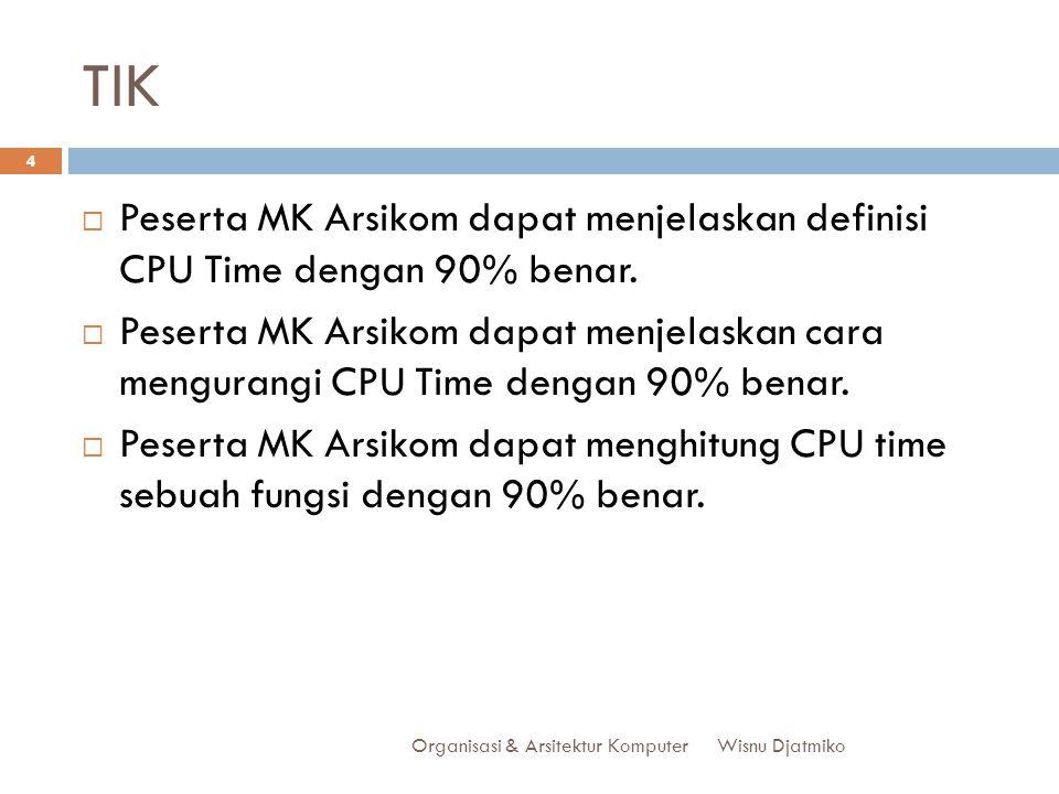 TIK Organisasi & Arsitektur Komputer 4  Peserta MK Arsikom dapat menjelaskan definisi CPU Time dengan 90% benar.  Peserta MK Arsikom dapat menjelask