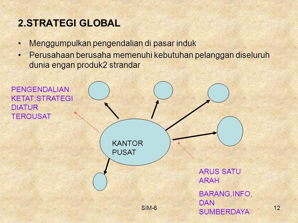 SIM-612 2.STRATEGI GLOBAL Menggumpulkan pengendalian di pasar induk Perusahaan berusaha memenuhi kebutuhan pelanggan diseluruh dunia engan produk2 str