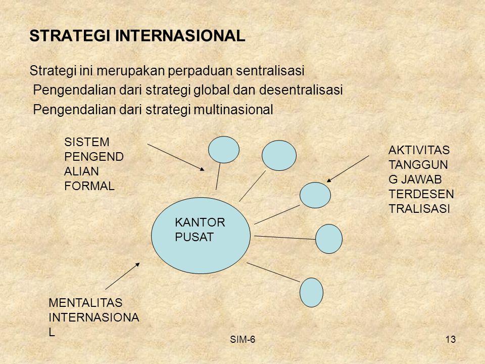 SIM-613 STRATEGI INTERNASIONAL Strategi ini merupakan perpaduan sentralisasi Pengendalian dari strategi global dan desentralisasi Pengendalian dari st