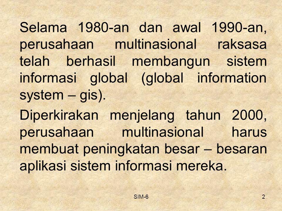 SIM-613 STRATEGI INTERNASIONAL Strategi ini merupakan perpaduan sentralisasi Pengendalian dari strategi global dan desentralisasi Pengendalian dari strategi multinasional KANTOR PUSAT SISTEM PENGEND ALIAN FORMAL MENTALITAS INTERNASIONA L AKTIVITAS TANGGUN G JAWAB TERDESEN TRALISASI