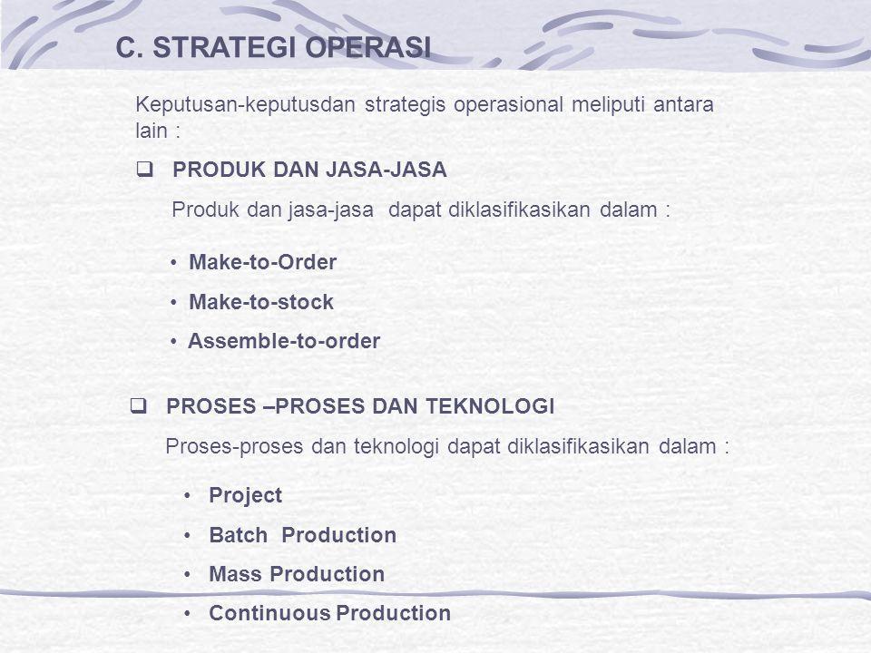 C. STRATEGI OPERASI Keputusan-keputusdan strategis operasional meliputi antara lain :  PRODUK DAN JASA-JASA Produk dan jasa-jasa dapat diklasifikasik