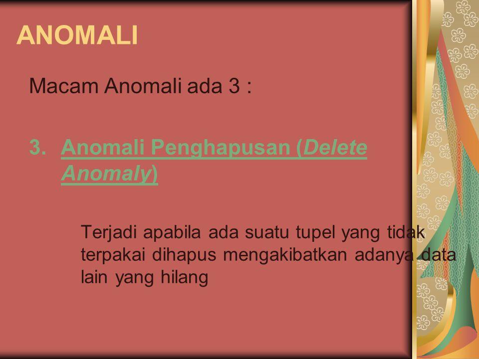ANOMALI Macam Anomali ada 3 : 3.Anomali Penghapusan (Delete Anomaly) Terjadi apabila ada suatu tupel yang tidak terpakai dihapus mengakibatkan adanya data lain yang hilang