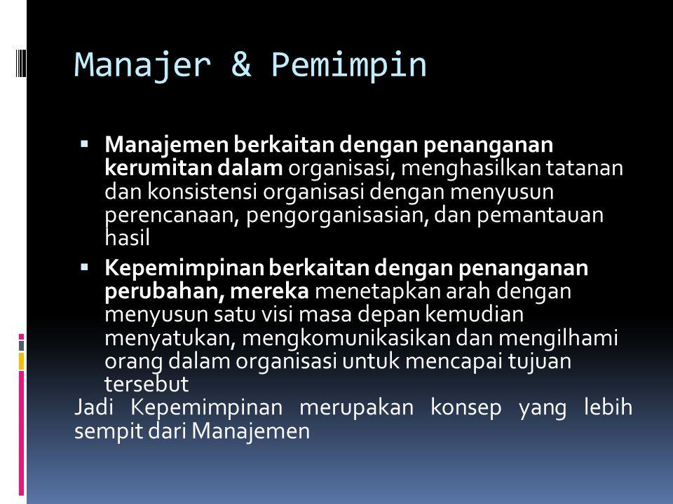 Manajer & Pemimpin  Manajemen berkaitan dengan penanganan kerumitan dalam organisasi, menghasilkan tatanan dan konsistensi organisasi dengan menyusun