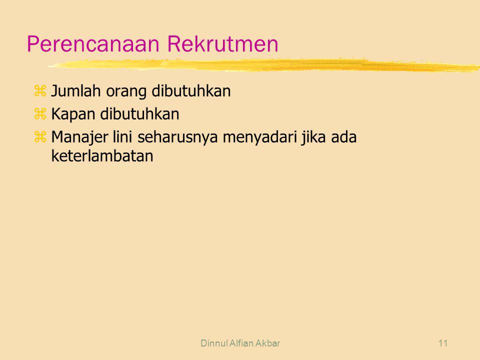 Dinnul Alfian Akbar11 Perencanaan Rekrutmen z Jumlah orang dibutuhkan z Kapan dibutuhkan z Manajer lini seharusnya menyadari jika ada keterlambatan