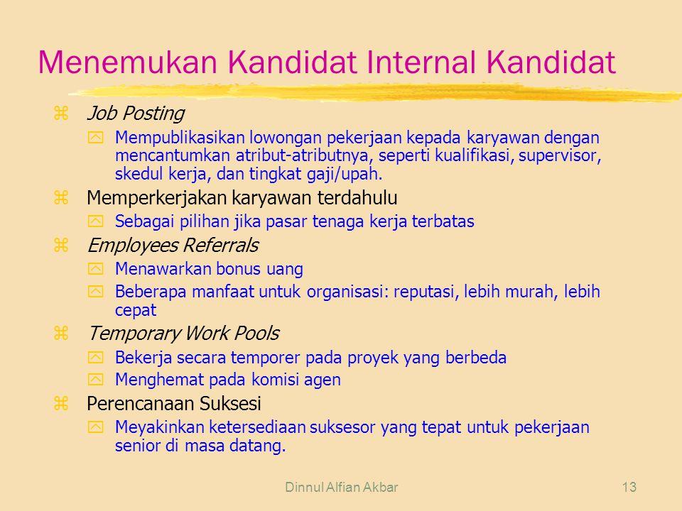 Dinnul Alfian Akbar13 Menemukan Kandidat Internal Kandidat z Job Posting yMempublikasikan lowongan pekerjaan kepada karyawan dengan mencantumkan atrib
