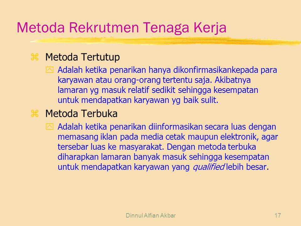 Dinnul Alfian Akbar17 Metoda Rekrutmen Tenaga Kerja z Metoda Tertutup yAdalah ketika penarikan hanya dikonfirmasikankepada para karyawan atau orang-or