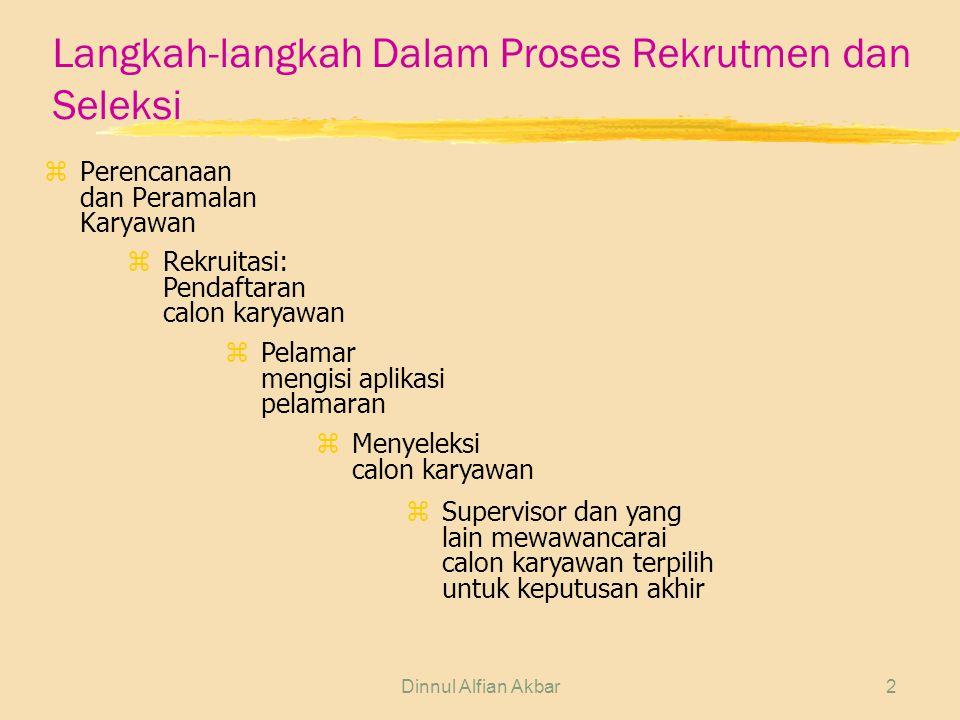 Dinnul Alfian Akbar3 Tujuan Rekrutmen zMenerima pelamar sebanyak-banyaknya sesuai dengan kualifikasi kebutuhan perusahaan dari berbagai sumber, sehingga memungkinkan akan terjaring calon karyawan dengan kualitas tertinggi dari yang terbaik.