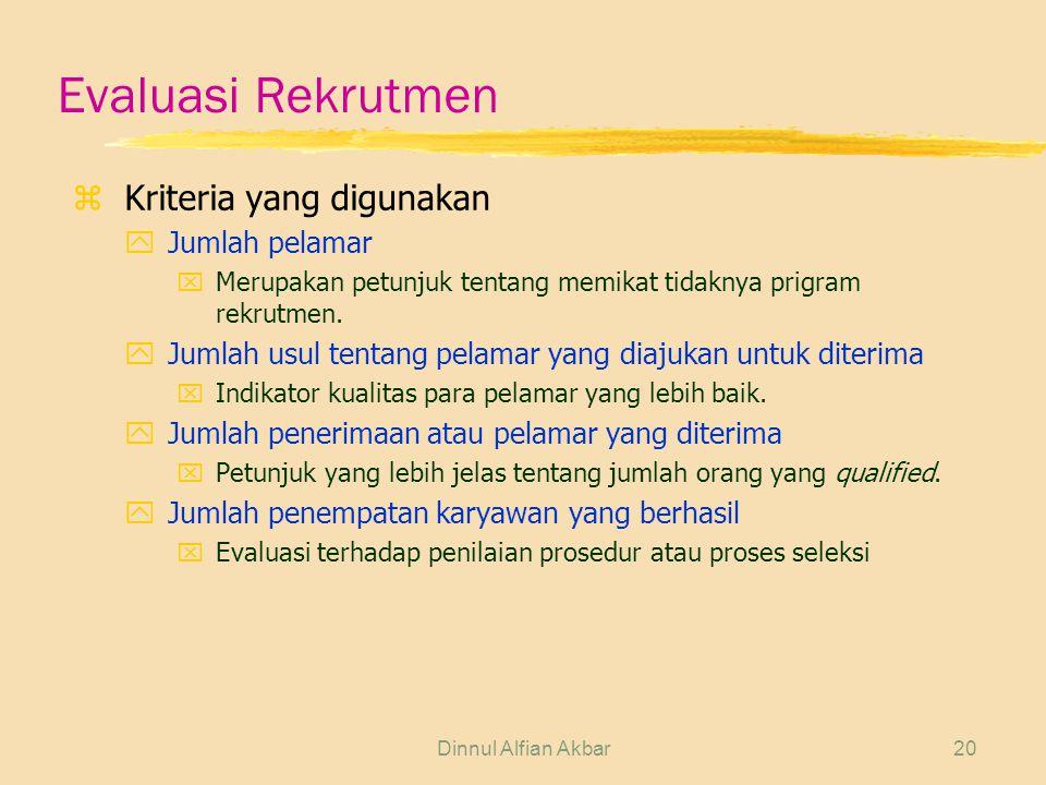 Dinnul Alfian Akbar20 Evaluasi Rekrutmen z Kriteria yang digunakan yJumlah pelamar xMerupakan petunjuk tentang memikat tidaknya prigram rekrutmen. yJu