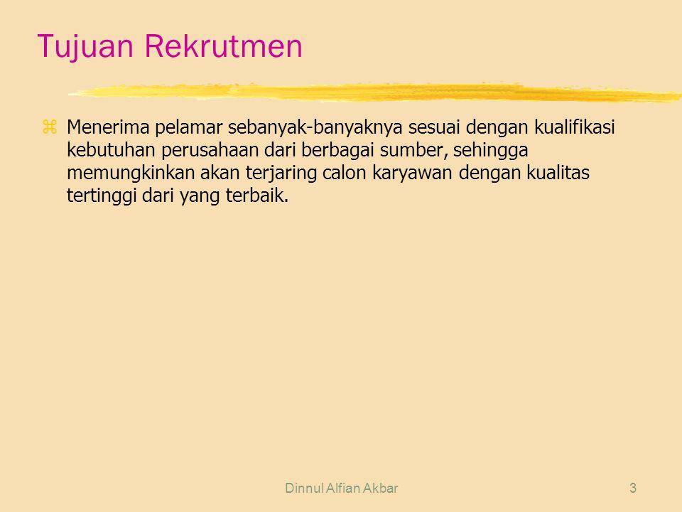Dinnul Alfian Akbar3 Tujuan Rekrutmen zMenerima pelamar sebanyak-banyaknya sesuai dengan kualifikasi kebutuhan perusahaan dari berbagai sumber, sehing