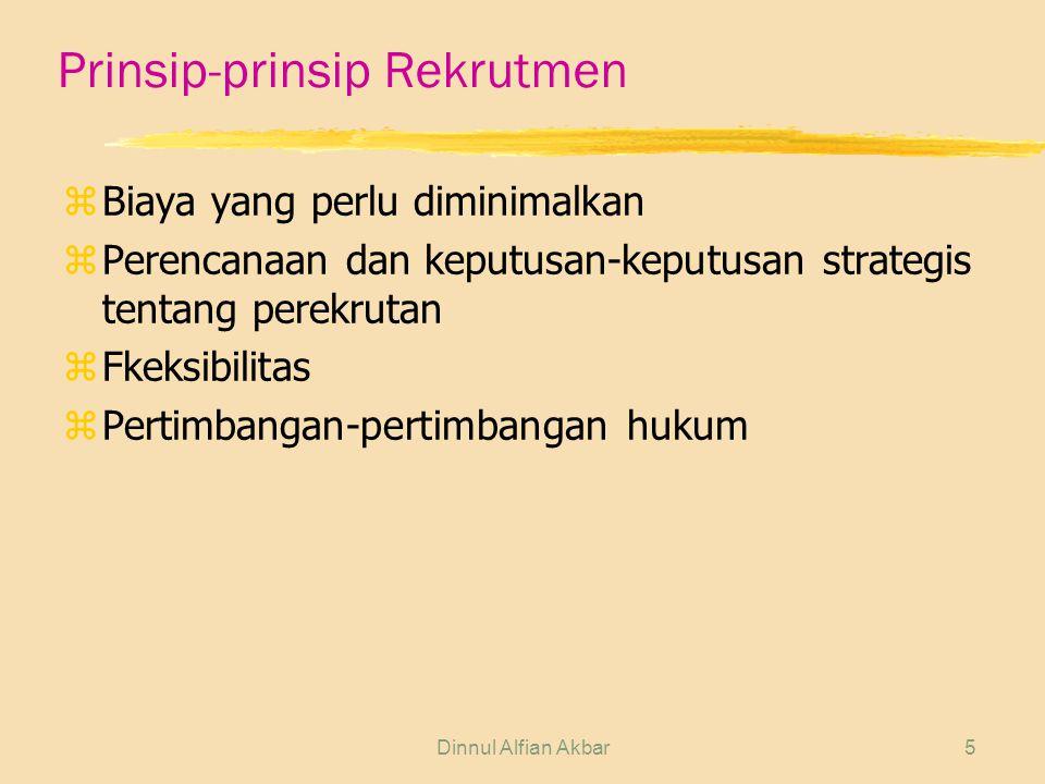 Dinnul Alfian Akbar5 Prinsip-prinsip Rekrutmen zBiaya yang perlu diminimalkan zPerencanaan dan keputusan-keputusan strategis tentang perekrutan zFkeks