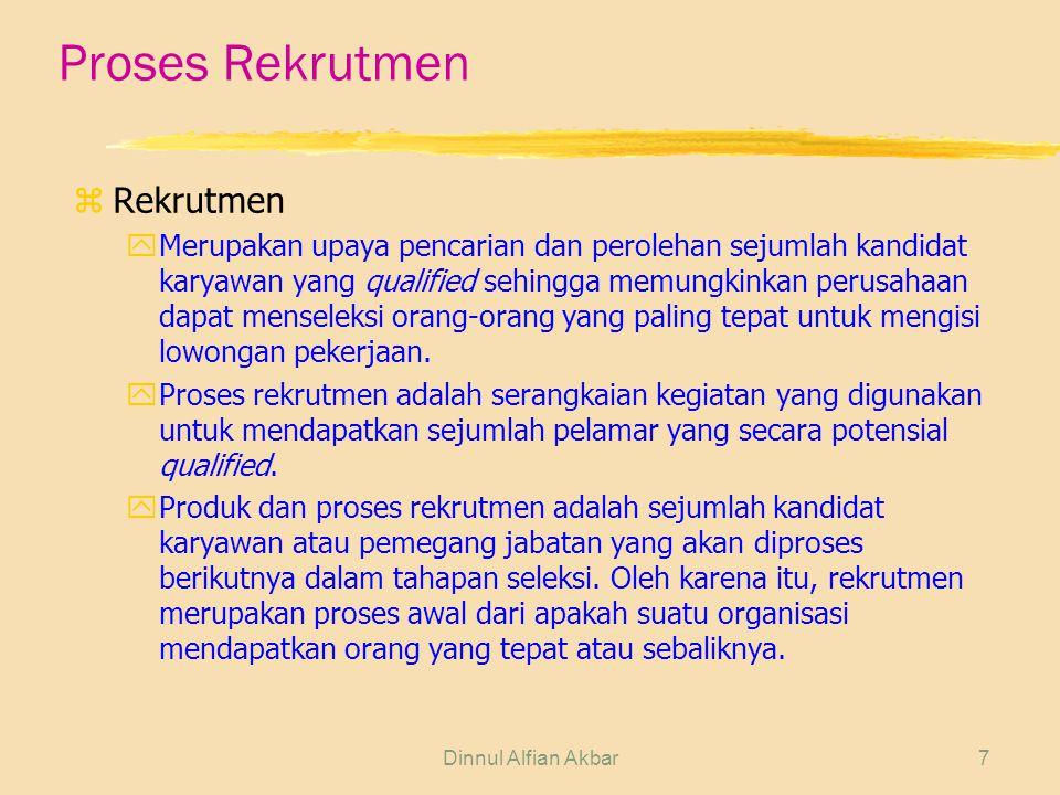 Dinnul Alfian Akbar7 Proses Rekrutmen z Rekrutmen yMerupakan upaya pencarian dan perolehan sejumlah kandidat karyawan yang qualified sehingga memungki
