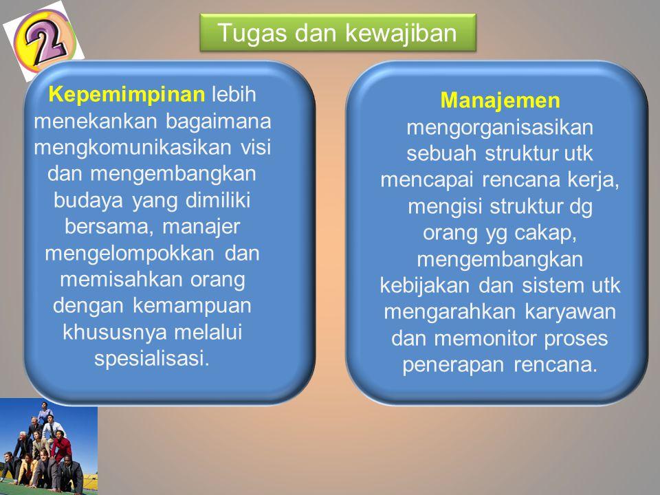 Manajemen lebih banyak mengontrol dan mengarahkan.