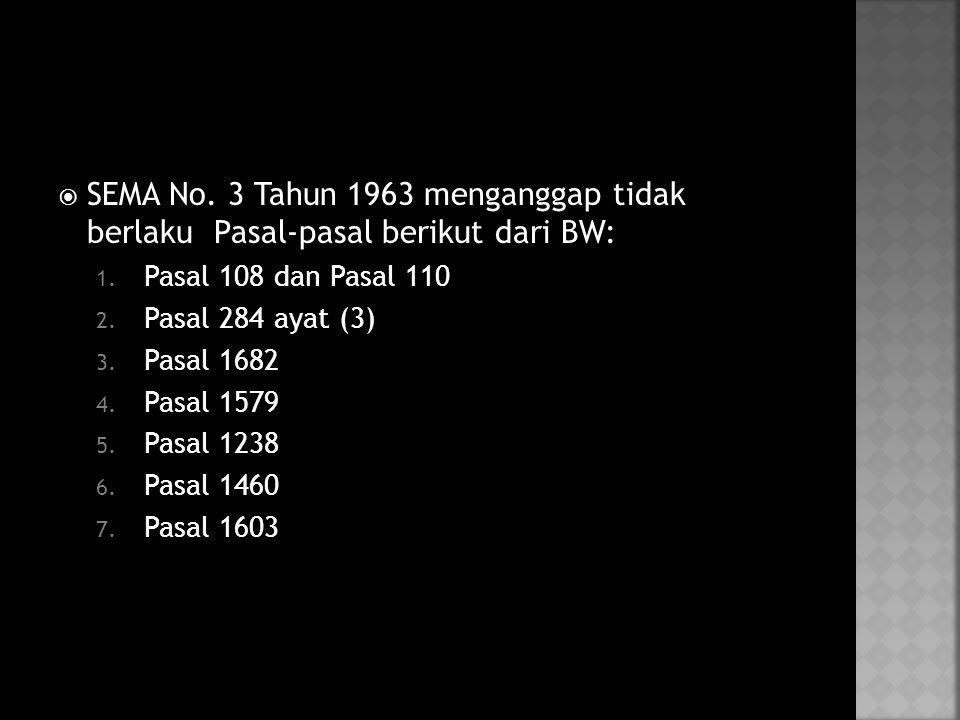  SEMA No.3 Tahun 1963 menganggap tidak berlaku Pasal-pasal berikut dari BW: 1.