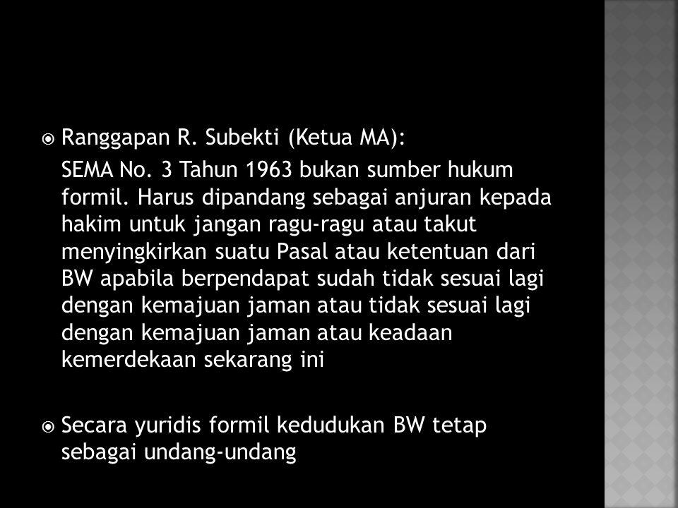  Ranggapan R.Subekti (Ketua MA): SEMA No. 3 Tahun 1963 bukan sumber hukum formil.