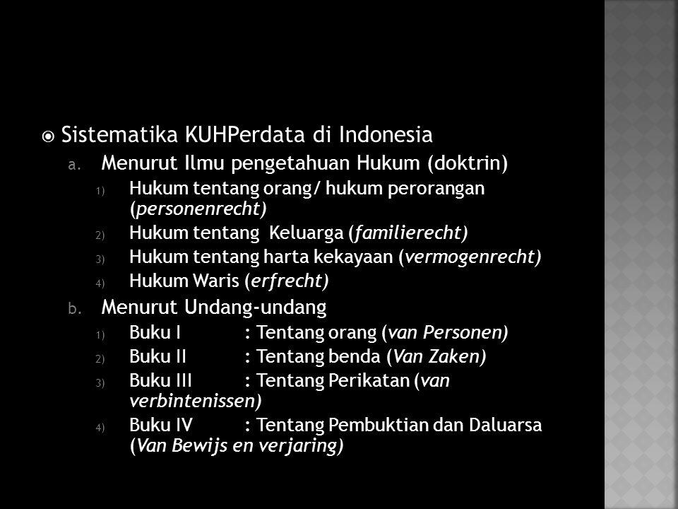  Sistematika KUHPerdata di Indonesia a.