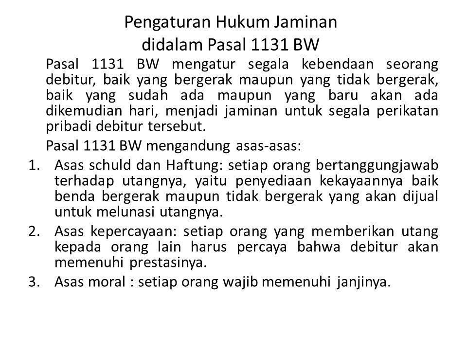 Pengaturan Hukum Jaminan didalam Pasal 1131 BW Pasal 1131 BW mengatur segala kebendaan seorang debitur, baik yang bergerak maupun yang tidak bergerak,