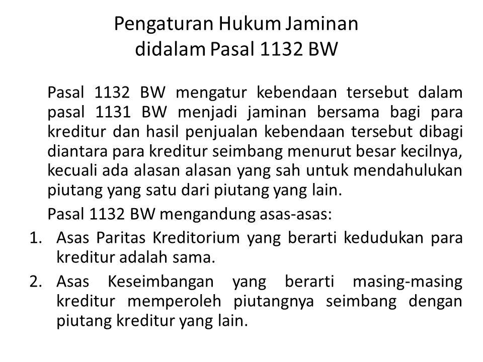 Pengaturan Hukum Jaminan didalam Pasal 1133 BW Pasal 1133 BW mengatur piutang yang didahulukan adalah piutang dengan hak privilege, gadai dan hipotik (asas droit de preference).