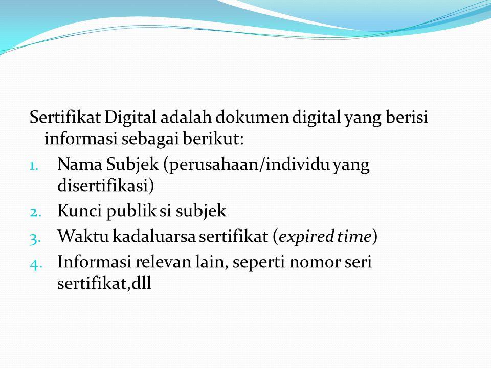 Sertifikat Digital adalah dokumen digital yang berisi informasi sebagai berikut: 1. Nama Subjek (perusahaan/individu yang disertifikasi) 2. Kunci publ