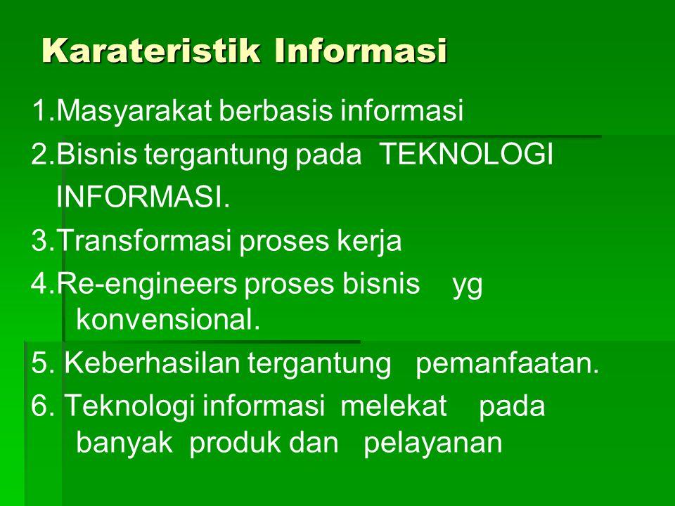 Karateristik Informasi 1.Masyarakat berbasis informasi 2.Bisnis tergantung pada TEKNOLOGI INFORMASI.