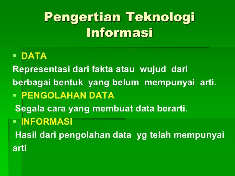 Pengertian Teknologi Informasi   DATA Representasi dari fakta atau wujud dari berbagai bentuk yang belum mempunyai arti.