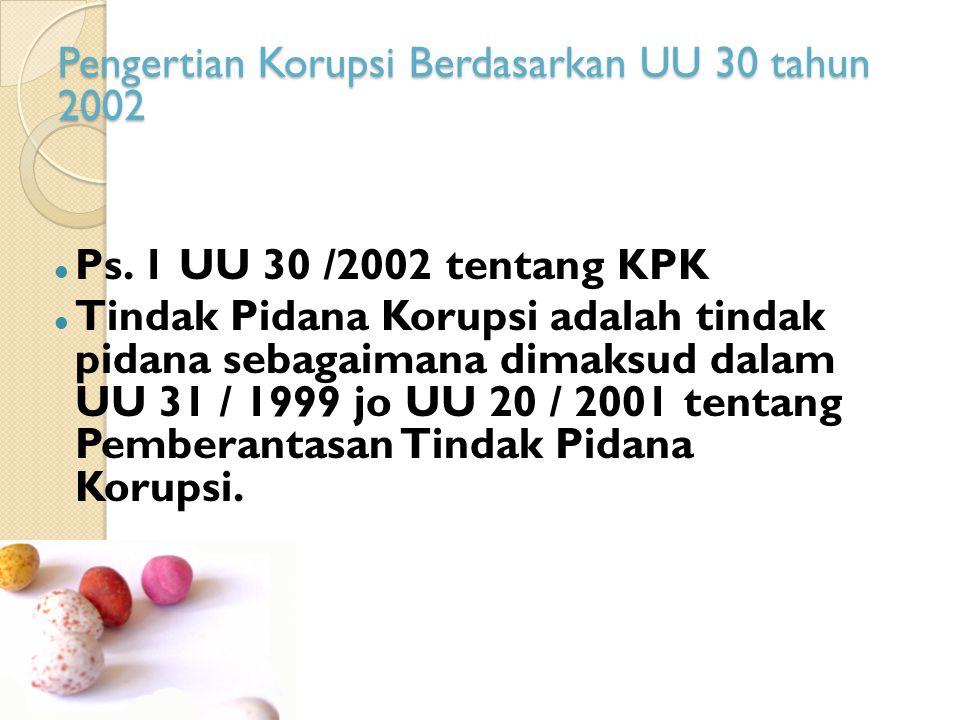Pengertian Korupsi Berdasarkan UU 30 tahun 2002 Ps.