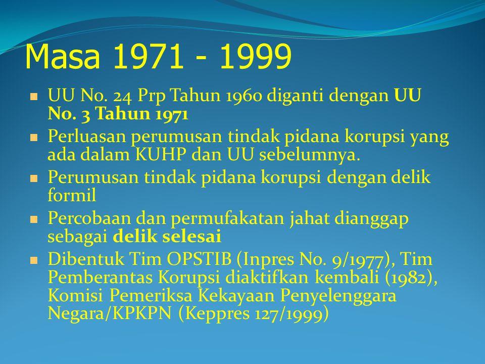 Masa 1971 - 1999 UU No.24 Prp Tahun 1960 diganti dengan UU No.