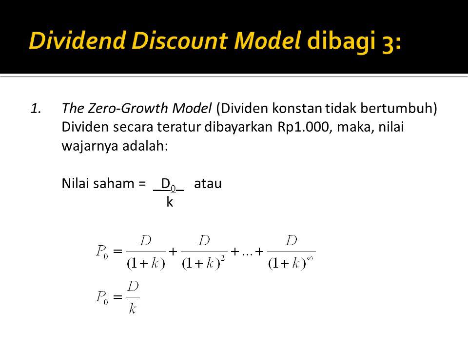 1.The Zero-Growth Model (Dividen konstan tidak bertumbuh) Dividen secara teratur dibayarkan Rp1.000, maka, nilai wajarnya adalah: Nilai saham = _D 0 _