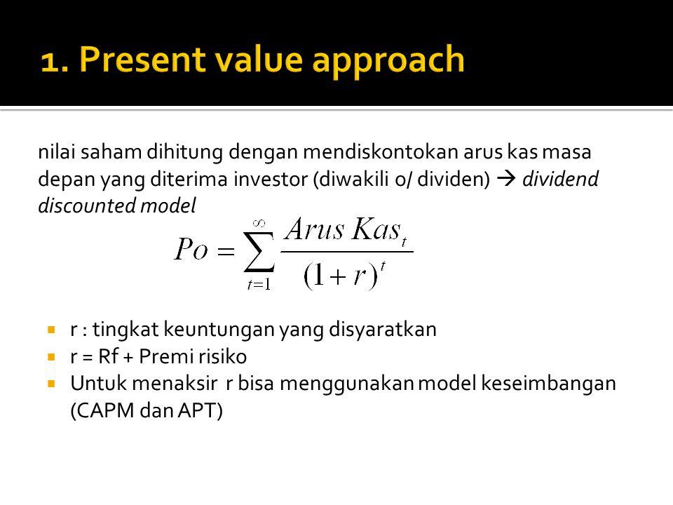 nilai saham dihitung dengan mendiskontokan arus kas masa depan yang diterima investor (diwakili o/ dividen)  dividend discounted model  r : tingkat keuntungan yang disyaratkan  r = Rf + Premi risiko  Untuk menaksir r bisa menggunakan model keseimbangan (CAPM dan APT)