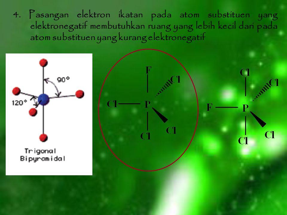 4. Pasangan elektron ikatan pada atom substituen yang elektronegatif membutuhkan ruang yang lebih kecil dari pada atom substituen yang kurang elektron