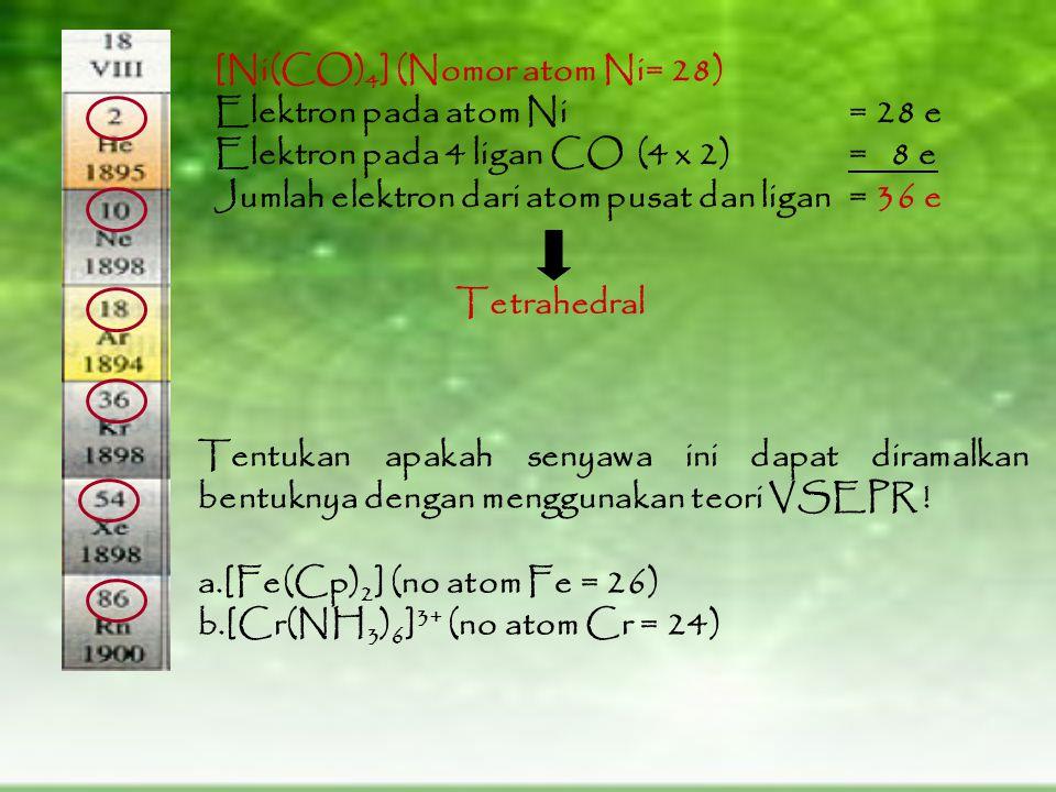 [Ni(CO) 4 ] (Nomor atom Ni= 28) Elektron pada atom Ni = 28 e Elektron pada 4 ligan CO(4 x 2)= 8 e Jumlah elektron dari atom pusat dan ligan= 36 e Tetrahedral Tentukan apakah senyawa ini dapat diramalkan bentuknya dengan menggunakan teori VSEPR .
