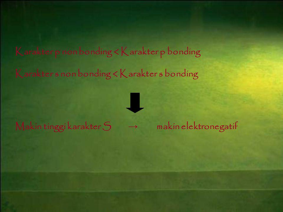Karakter p non bonding < Karakter p bonding Karakter s non bonding < Karakter s bonding Makin tinggi karakter S → makin elektronegatif