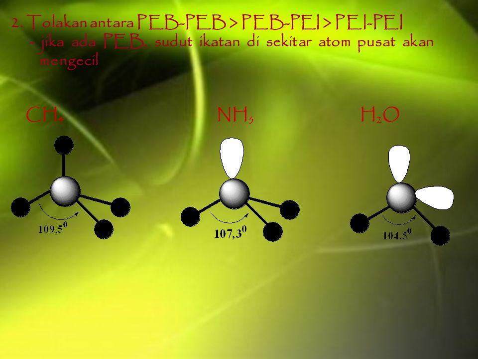 2. Tolakan antara PEB-PEB > PEB-PEI > PEI-PEI - jika ada PEB, sudut ikatan di sekitar atom pusat akan mengecil CH 4 NH 3 H 2 O