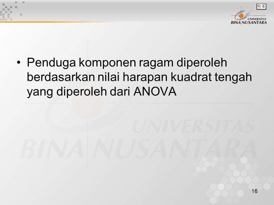 16 Penduga komponen ragam diperoleh berdasarkan nilai harapan kuadrat tengah yang diperoleh dari ANOVA