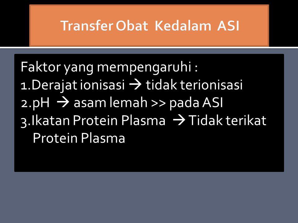 Faktor yang mempengaruhi : 1.Derajat ionisasi  tidak terionisasi 2.pH  asam lemah >> pada ASI 3.Ikatan Protein Plasma  Tidak terikat Protein Plasma