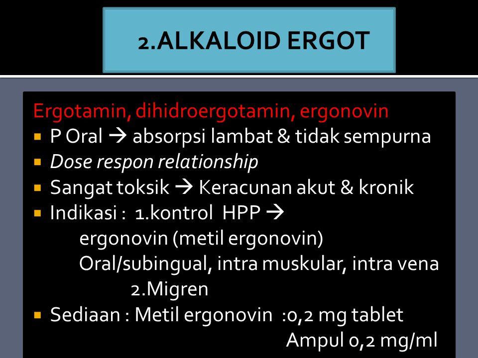 Ergotamin, dihidroergotamin, ergonovin  P Oral  absorpsi lambat & tidak sempurna  Dose respon relationship  Sangat toksik  Keracunan akut & kronik  Indikasi : 1.kontrol HPP  ergonovin (metil ergonovin) Oral/subingual, intra muskular, intra vena 2.Migren  Sediaan : Metil ergonovin :0,2 mg tablet Ampul 0,2 mg/ml