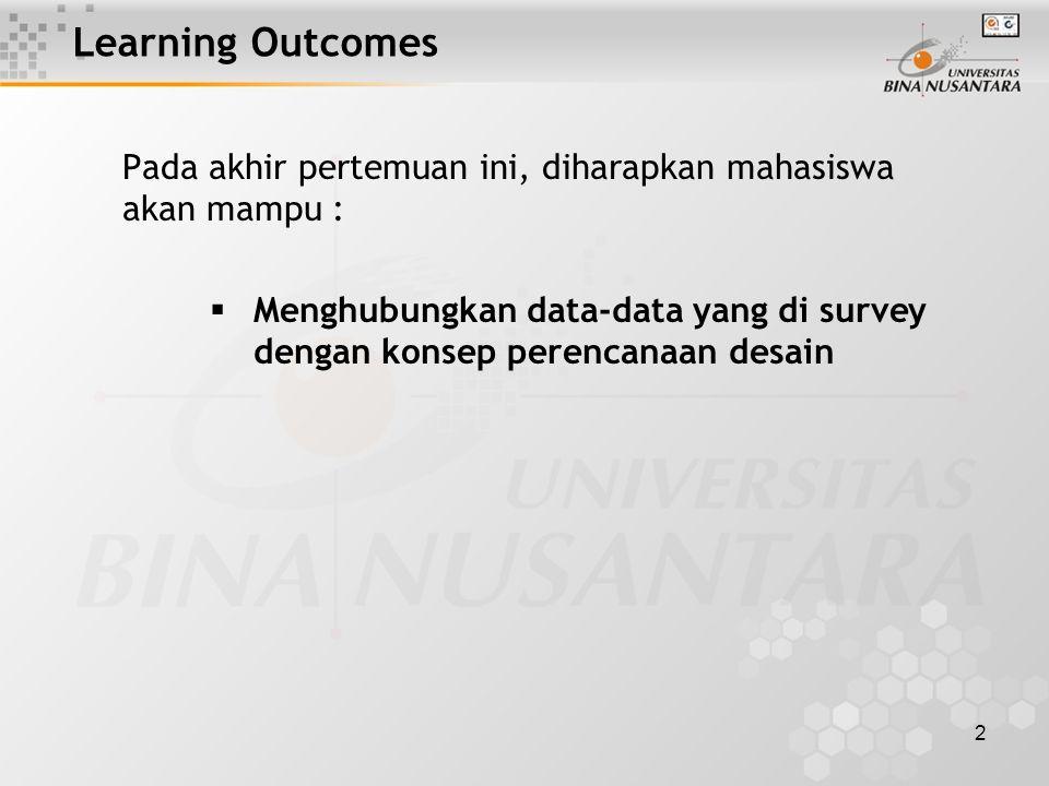 2 Learning Outcomes Pada akhir pertemuan ini, diharapkan mahasiswa akan mampu :  Menghubungkan data-data yang di survey dengan konsep perencanaan desain