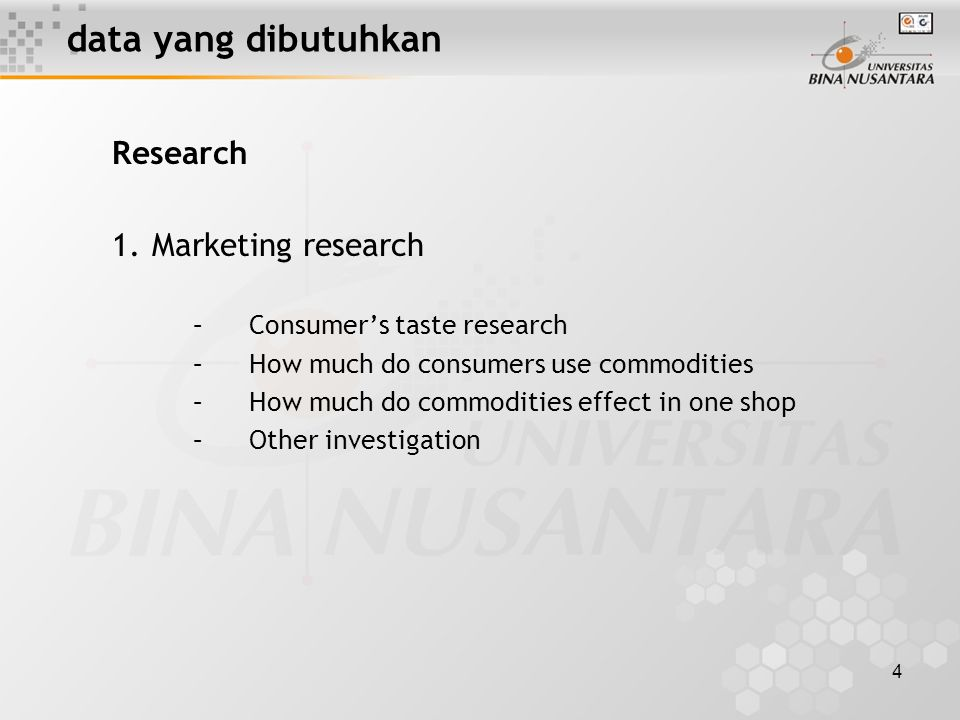 4 data yang dibutuhkan Research 1.Marketing research –Consumer's taste research –How much do consumers use commodities –How much do commodities effect in one shop –Other investigation