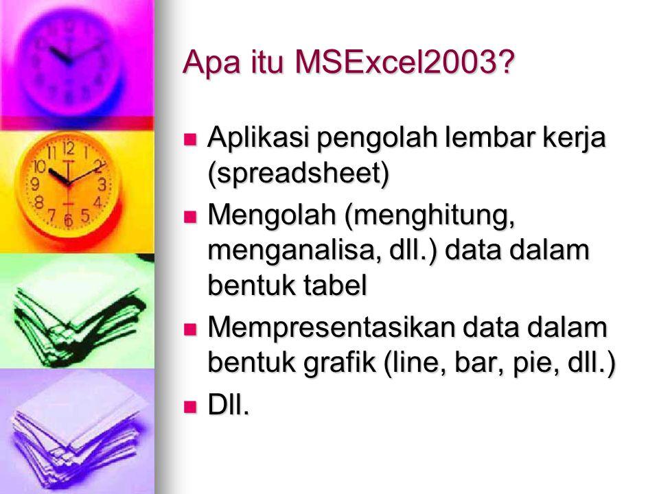 Apa itu MSExcel2003? Aplikasi pengolah lembar kerja (spreadsheet) Aplikasi pengolah lembar kerja (spreadsheet) Mengolah (menghitung, menganalisa, dll.