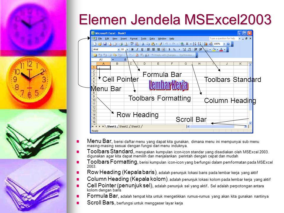 Elemen Jendela MSExcel2003 Menu Bar, berisi daftar menu yang dapat kita gunakan, dimana menu ini mempunyai sub menu masing-masing sesuai dengan fungsi