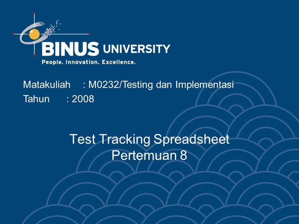 Test Tracking Spreadsheet Pertemuan 8 Matakuliah: M0232/Testing dan Implementasi Tahun: 2008