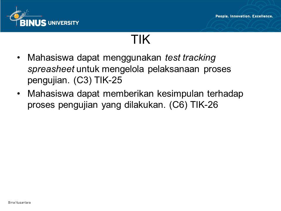 Bina Nusantara TIK Mahasiswa dapat menggunakan test tracking spreasheet untuk mengelola pelaksanaan proses pengujian. (C3) TIK-25 Mahasiswa dapat memb
