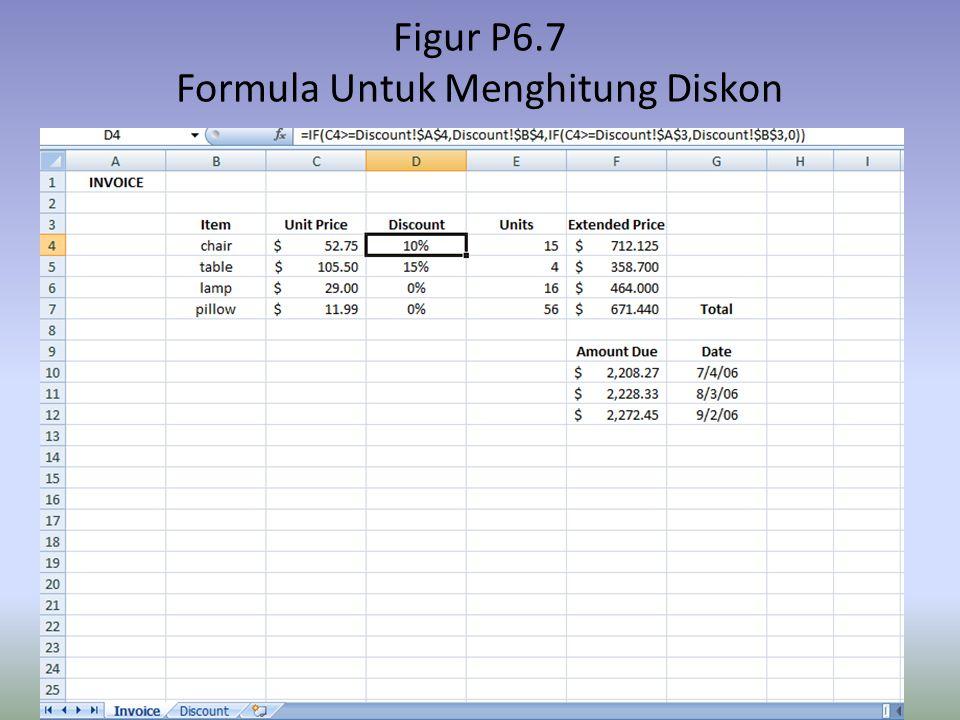 Figur P6.7 Formula Untuk Menghitung Diskon
