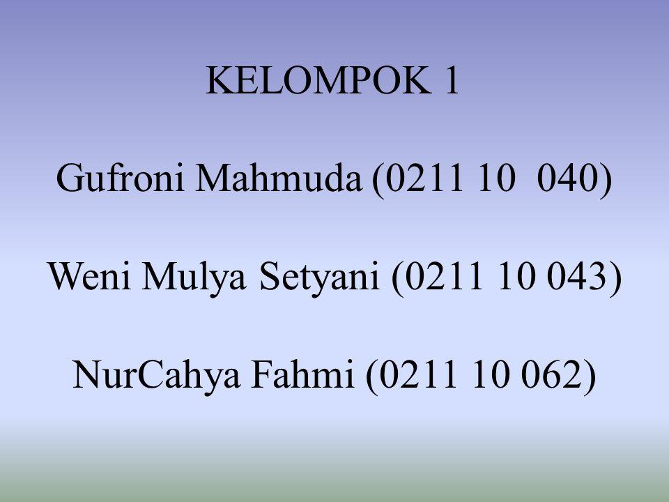 KELOMPOK 1 Gufroni Mahmuda (0211 10 040) Weni Mulya Setyani (0211 10 043) NurCahya Fahmi (0211 10 062)