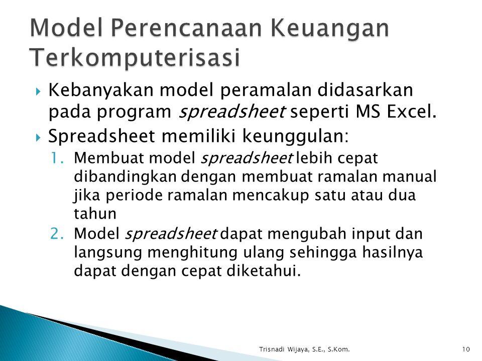  Kebanyakan model peramalan didasarkan pada program spreadsheet seperti MS Excel.  Spreadsheet memiliki keunggulan: 1.Membuat model spreadsheet lebi